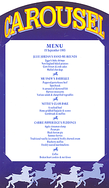 Dinner Menu for Shafesbury Theatre production of CAROUSEL
