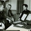 Richard Rodgers, Oscar Hammerstein and Jean Eckert view costume ...