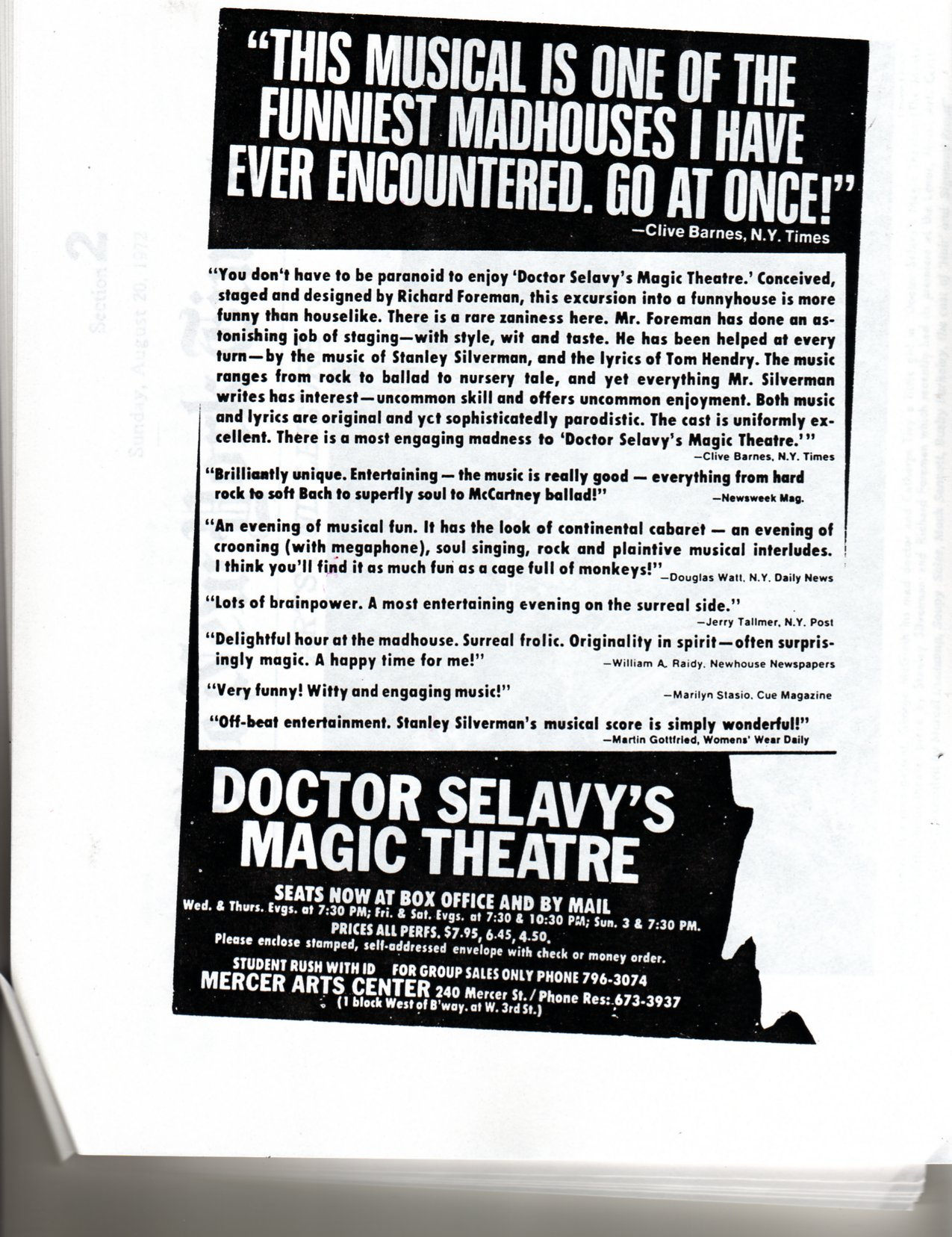 Dr. Selavy's Magic Theatre Program