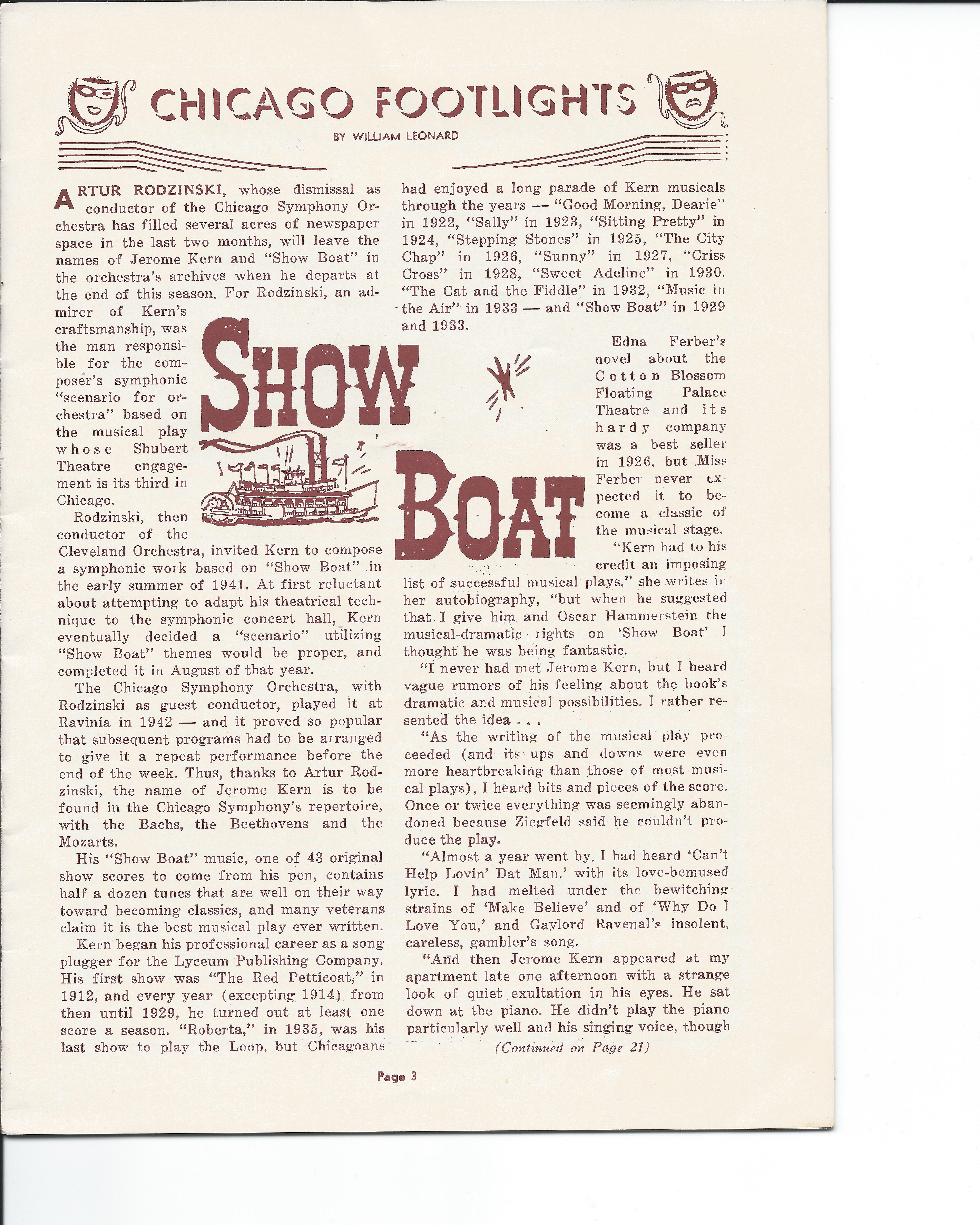 Showboat Stagebill - Chicago Shubert Theater, 3/21/1948 p. 3