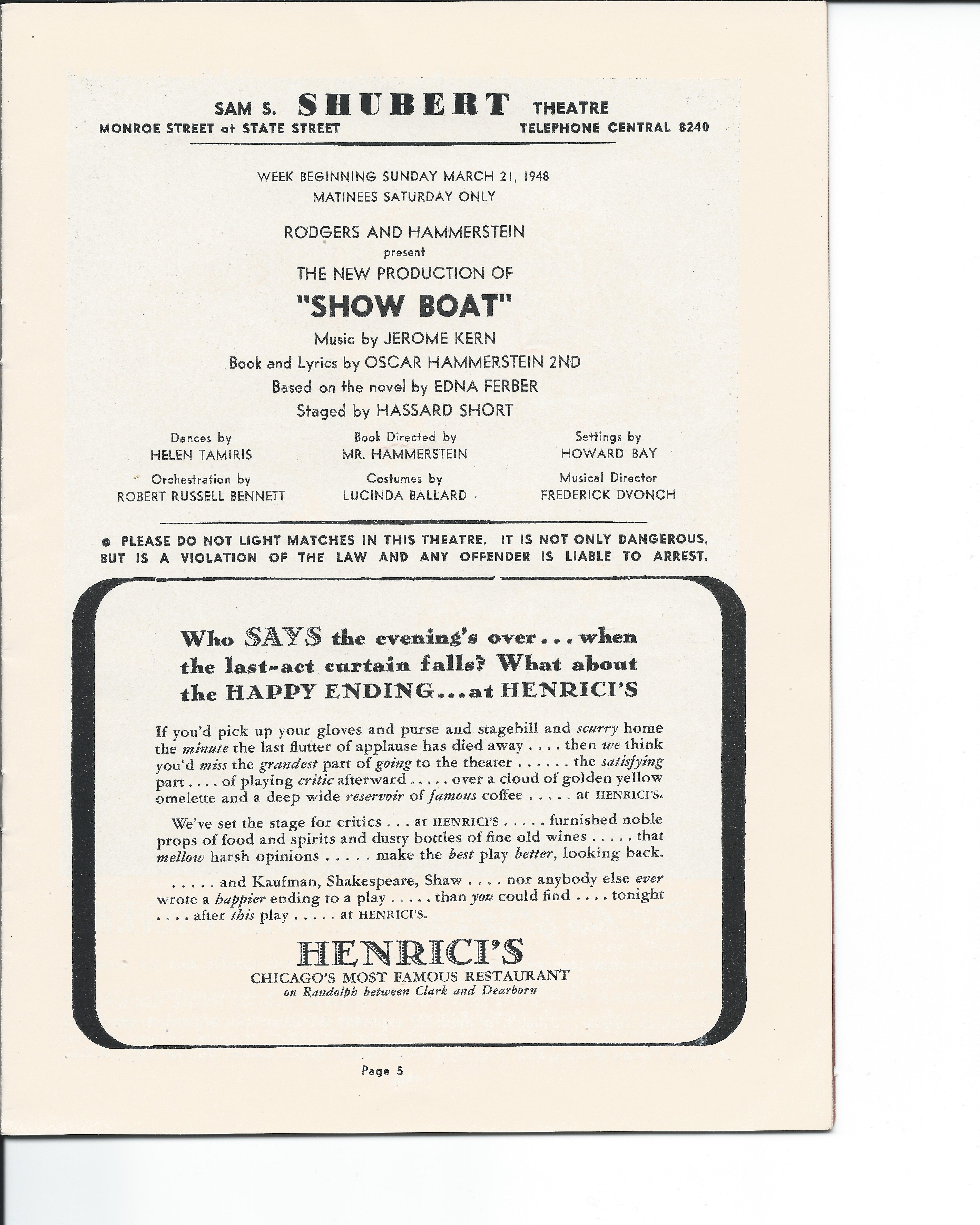 Showboat Stagebill - Chicago Shubert Theater, 3/21/1948 p. 5