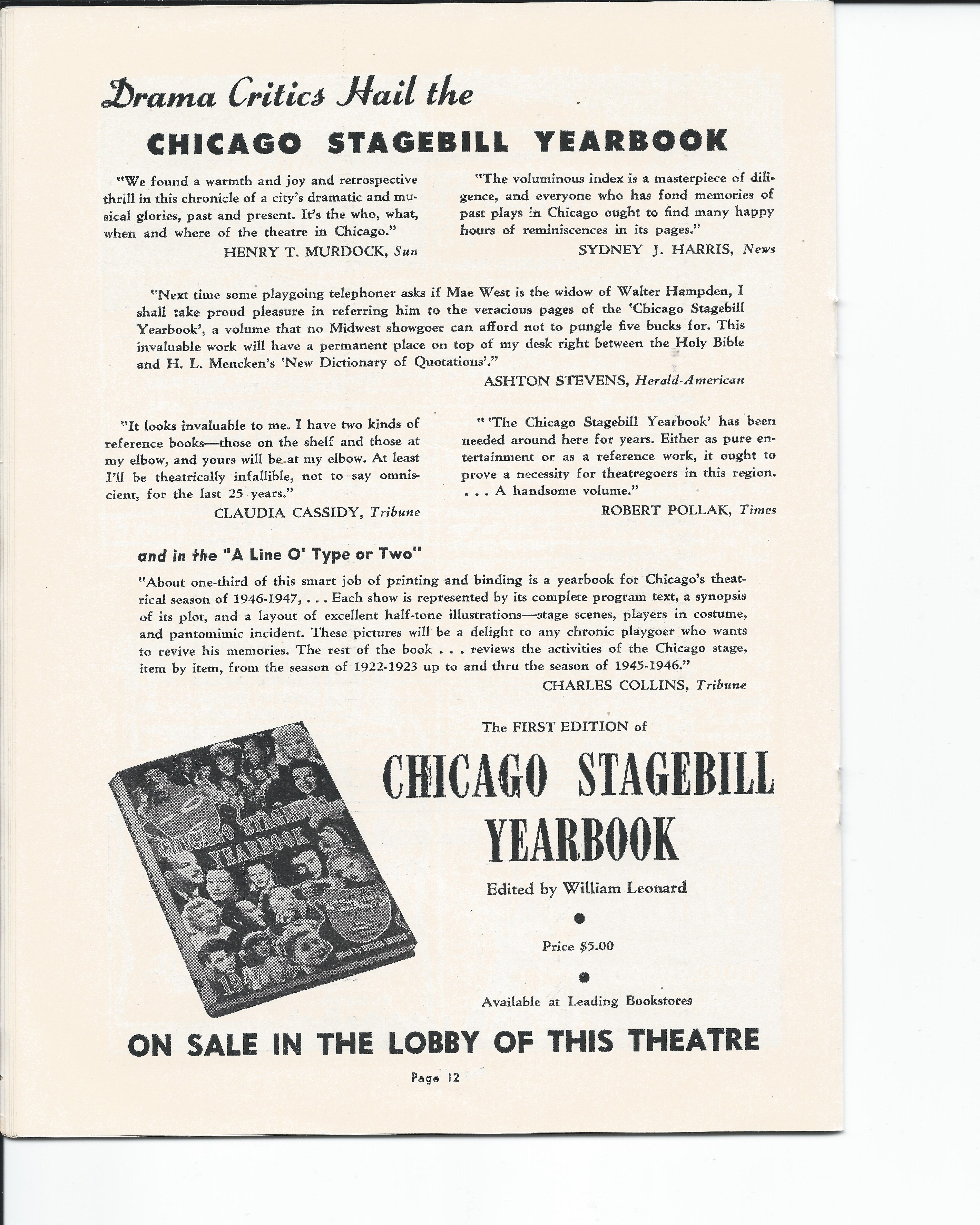 Showboat Stagebill - Chicago Shubert Theater, 3/21/1948 p. 12