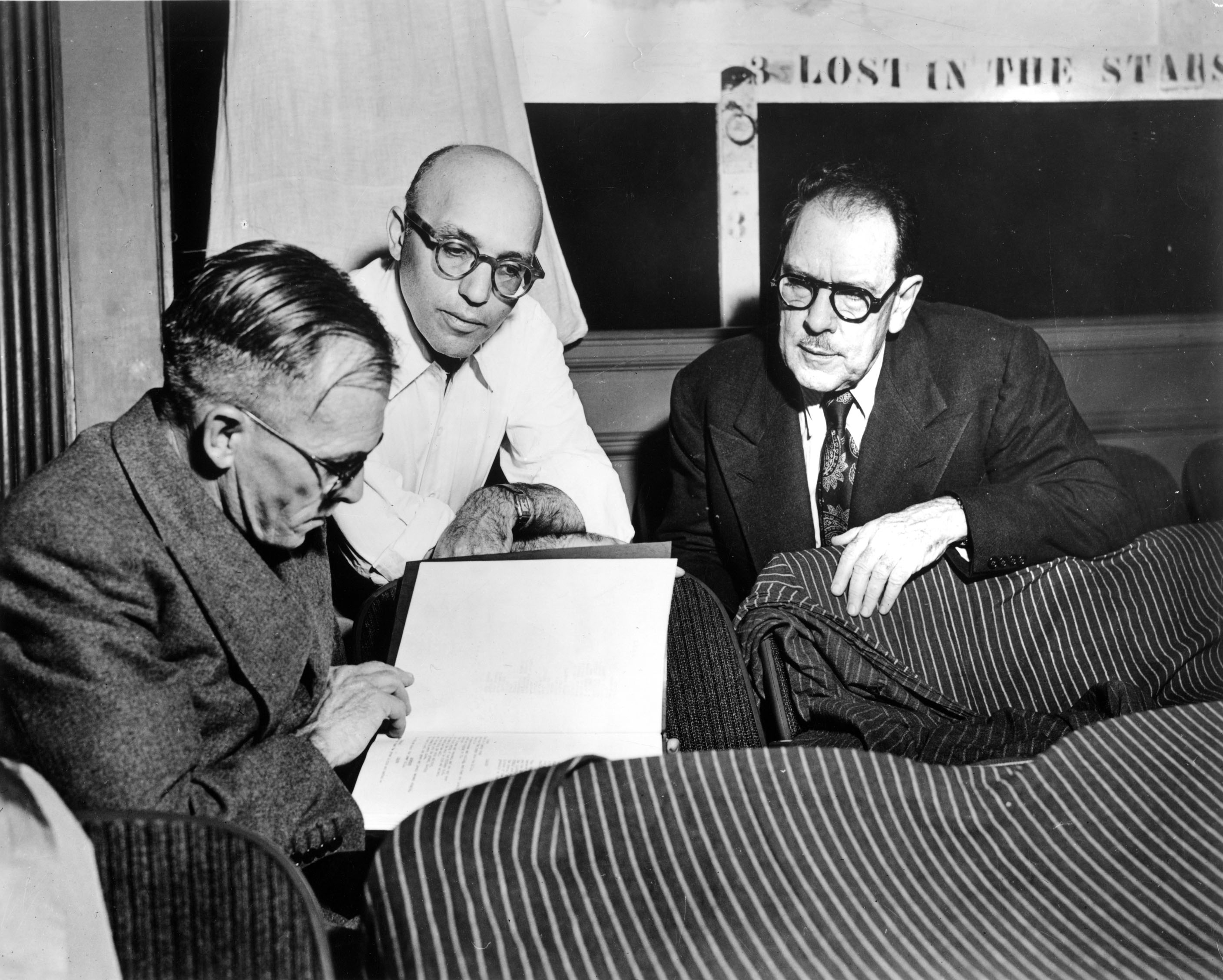 LOST IN THE STARS authors Kurt Weill and Maxwell Anderson with novelist Alan Paton.
